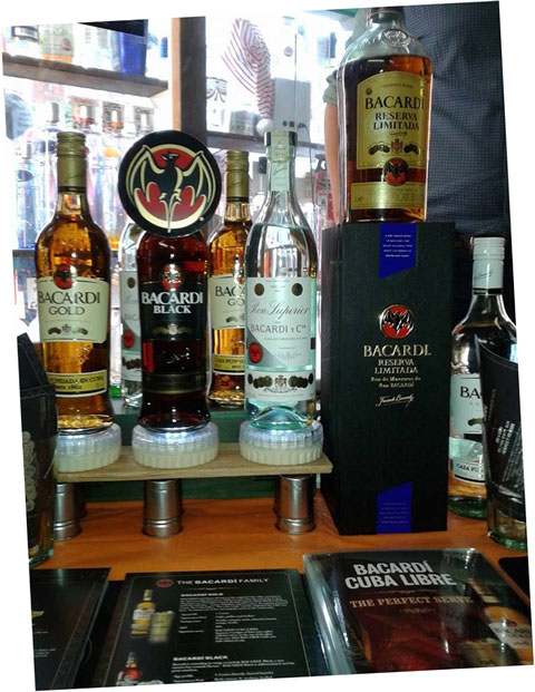 The new Bacardi rums currently available at Gerry's Wines and Spirits in Soho, London